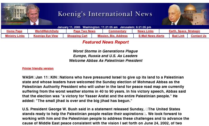 Web page claiming the Tsunami was God's wrath on Indian Coastland nations for their lack of support for Israel