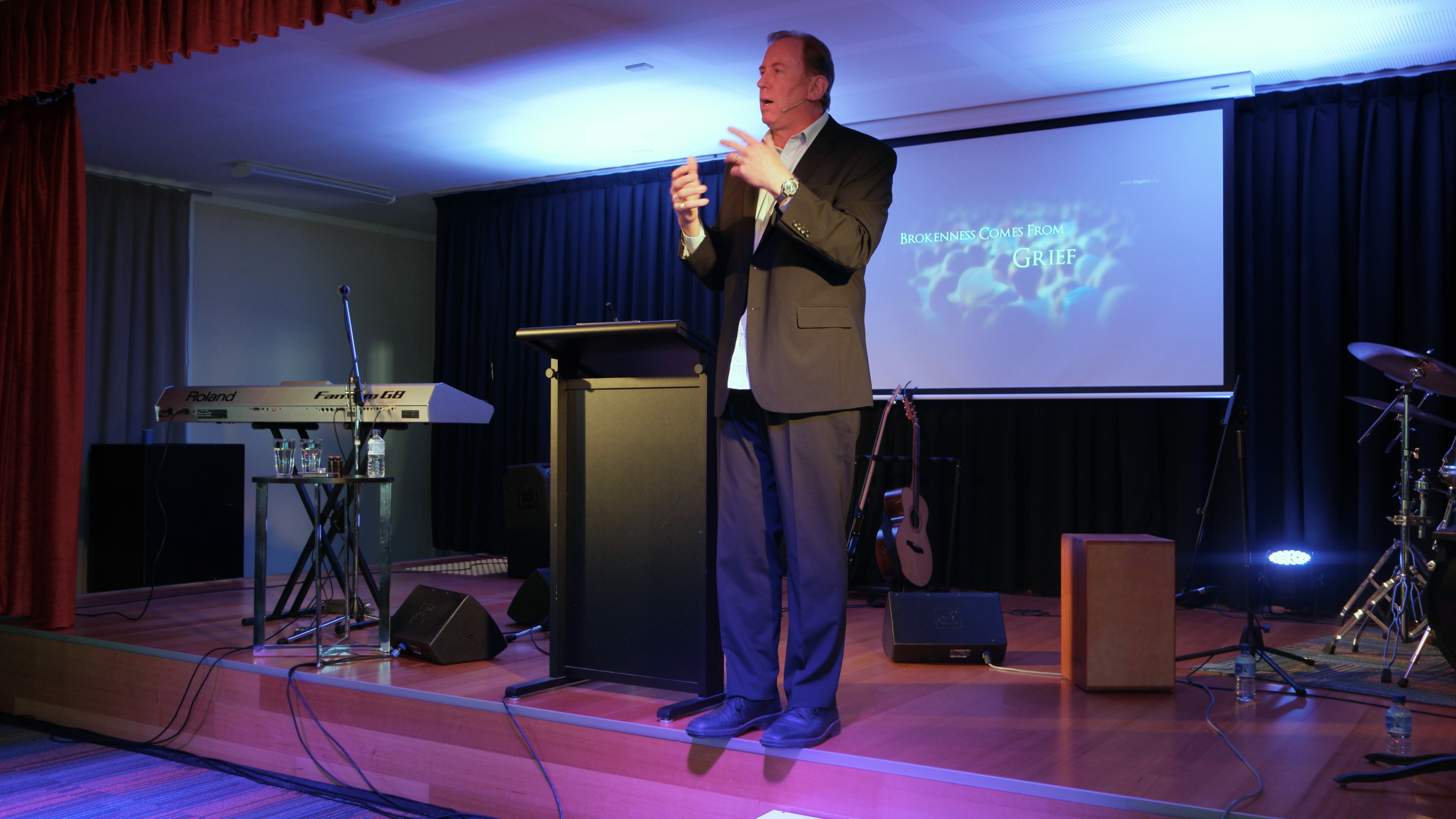 Andrew Corbett ministering at The Rock Christian Church in Brisbane, July 2016