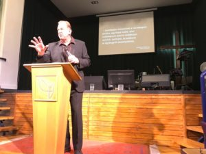 Dr. Andrew Corbett preaching in Budapest Free Christian Church, Sunday 20 September 2018